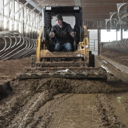 Zeb Underhill, an employee at Stonyvale Farm in Exeter, uses a skid steer to push cow manure.