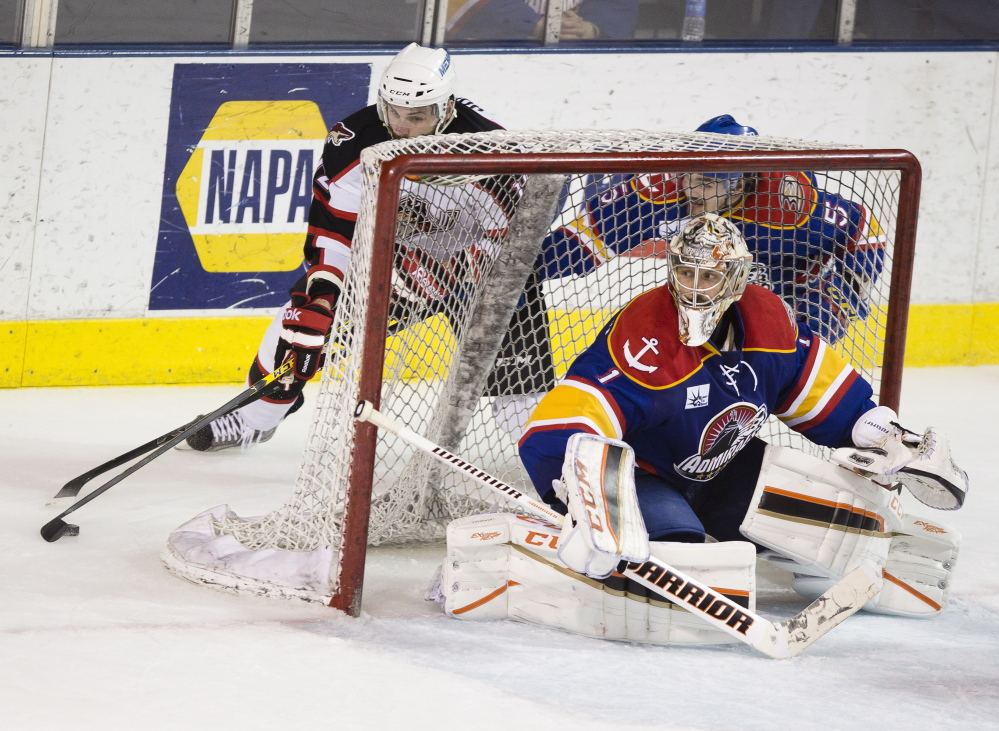 Norfolk goalie Jason LaBarbera keeps a close eye as he waits for Portland center Justin Hodgman to complete a wraparound move during the Pirates' 2-1 win in overtime Friday at Cross Insurance Arena in Portland. Carl D. Walsh/Staff Photographer