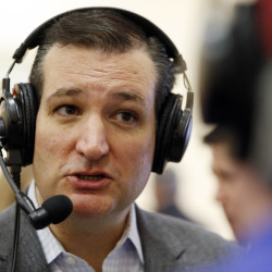 U.S. Sen. Ted Cruz, R-Texas, a tea party favorite and possible presidential candidate in 2016, is interviewed by Skip Murphy during a visit to the Strafford County Republican Committee Chili and Chat on Sunday, in Barrington, N.H.