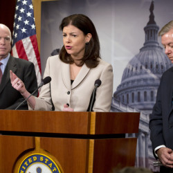 Some key players as Republicans try to craft a budget blueprint include Sen. Kelly Ayotte, R-N.H., center, flanked by Senate Armed Services Committee Chairman Sen. John McCain, R-Ariz., left, and and Sen. Lindsey Graham, R-S.C.