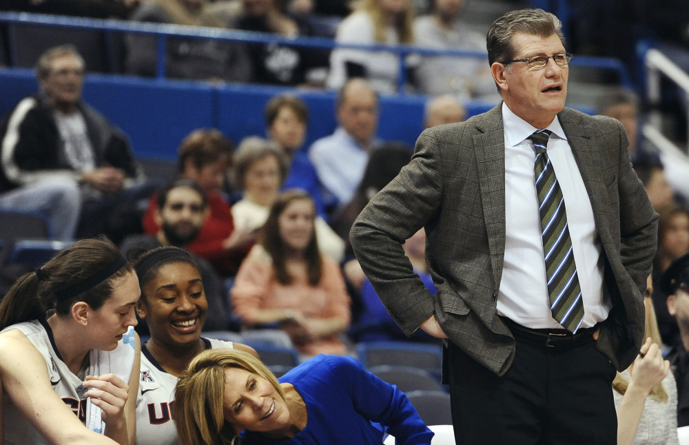 Coach Geno Auriemma and the UConn Huskies are the No. 1 seed in the NCAA Division I women's basketball tournament. Auriemma is seeking his 10th national championship.