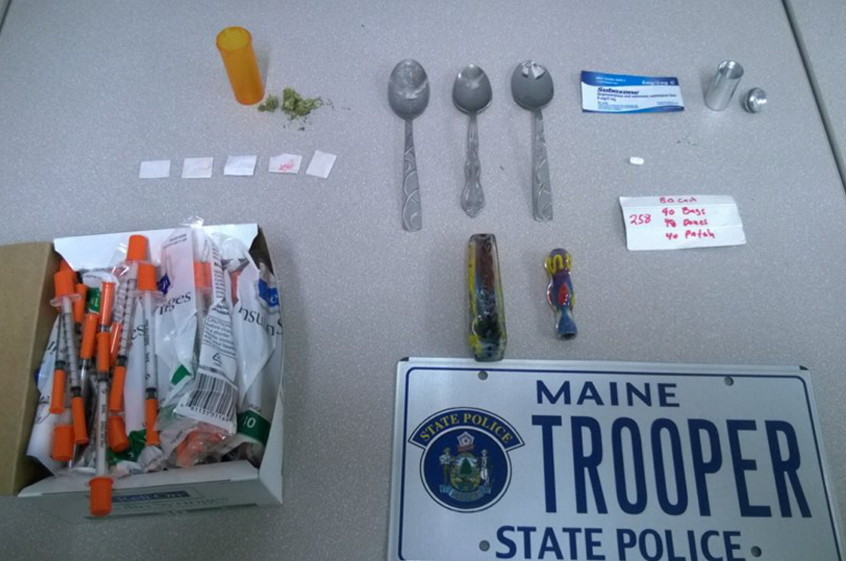Police say they seized what they believe is heroin and other drugs and paraphernalia from Gregory Strout of Cornville after a traffic stop Monday.
