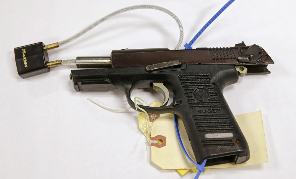 The Associated Press A Ruger pistol, that was shown during the Dzhokhar Tsarnaev federal death penalty trial, is displayed at a conference room at the John Joseph Moakley United States Courthouse in Boston, Tuesday, March 17, 2015.  Stephen Silva said during testimony Tuesday that he loaned Tsarnaev a P95 Ruger pistol in February 2013. Authorities say the P-95 Ruger was the gun used to kill MIT police officer Sean Collier.  (AP Photo/Charles Krupa)