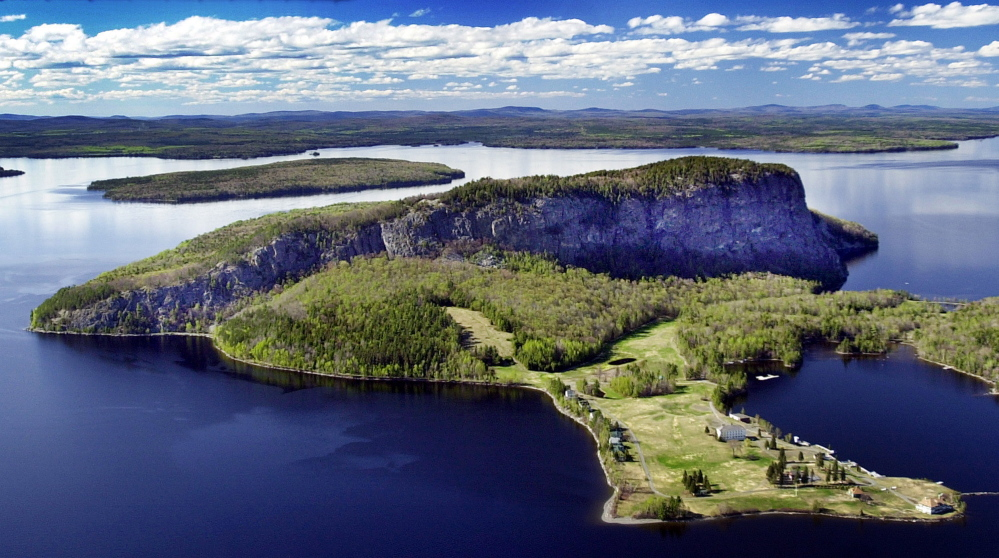 Funds from the Land for Maine's Future program were used to prevent development on Mount Kineo in Moosehead Lake, which has steep cliffs rising 800-feet above the lake.