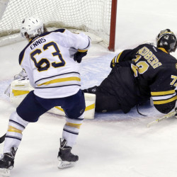 Buffalo Sabres left wing Tyler Ennis has Boston Bruins goalie Niklas Svedberg faked out and turned away as Ennis scores during the shootout in overtime of Tuesday night's game in Boston. The Sabres won 2-1.