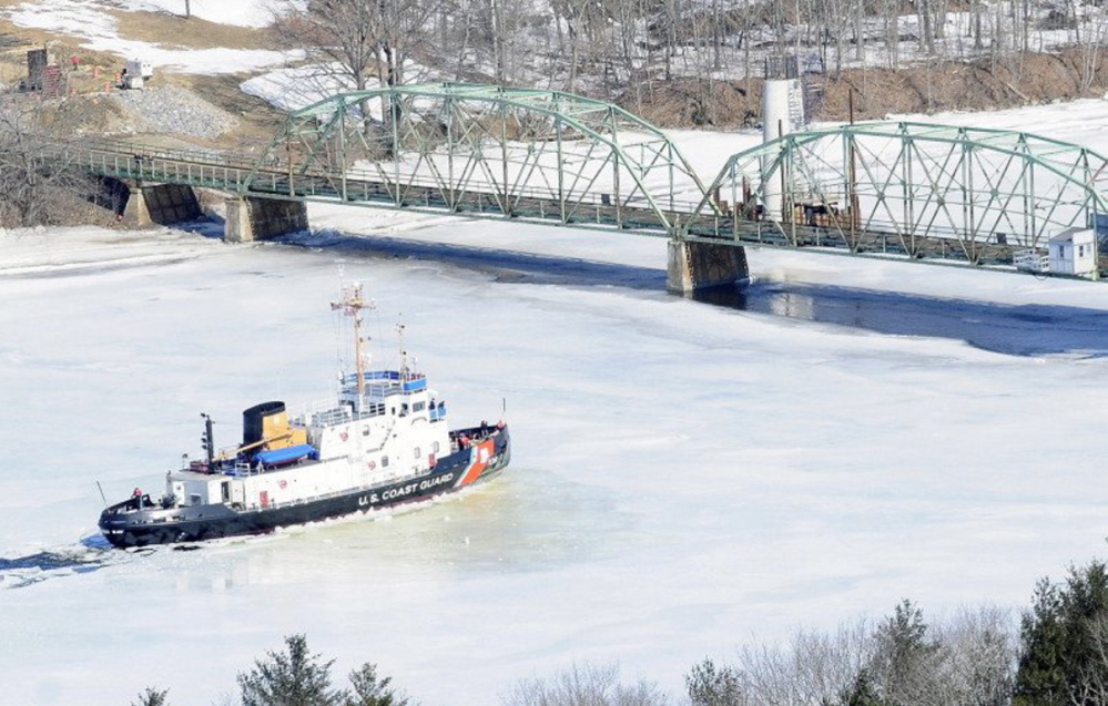 Coast Guard cutters are scheduled to break ice on the Kennebec River the week of March 30.