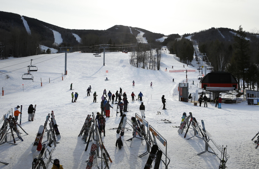 """Ski areas, such as Sunday River ski resort in Newry, provided one of the bright spots among Maine businesses this winter. The plentiful snow was a boon, although Greg Sweetser, executive director of the Ski Maine Association, admits: """"If we could have waved a magic wand, we would have liked a couple more sunny Saturdays"""" to boost customer traffic."""