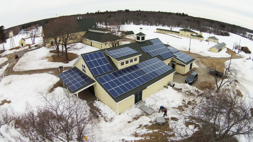 An array of solar panels will help provide electricity at Wells Reserve at Laudholm, which expects to derive all its electricity needs from the sun.