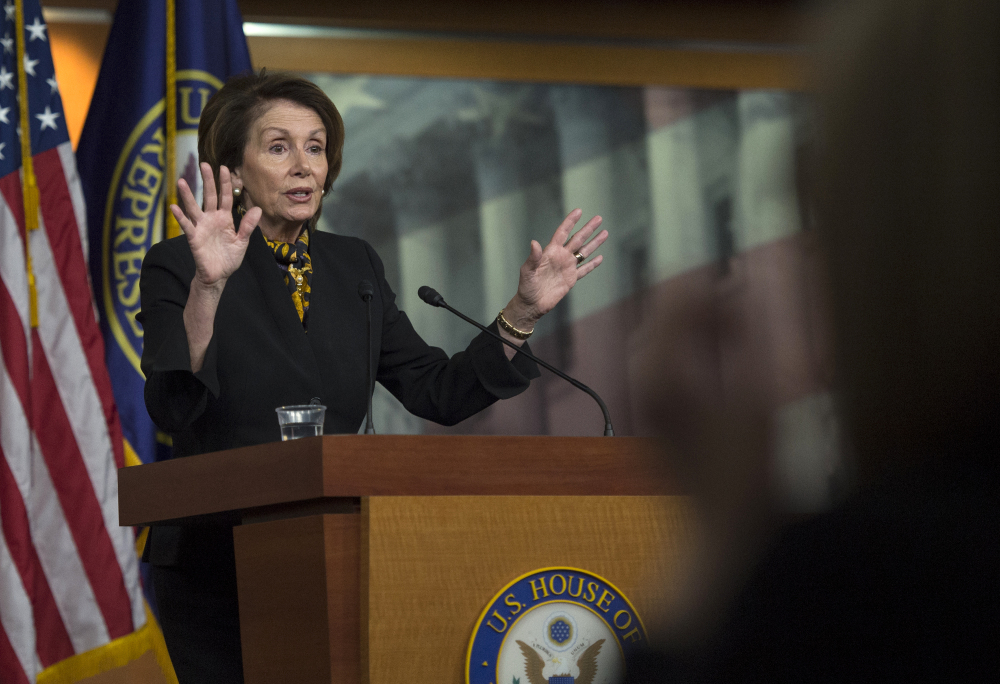 House Minority Leader Rep. Nancy Pelosi of California speaks during her weekly news conference in Washington on Thursday.