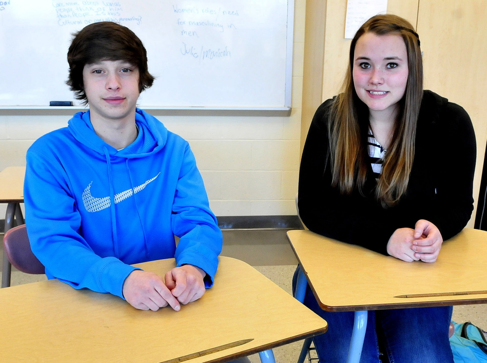 Waterville Senior High School students Noah Perry and Hannah Rumery participate in the Bridge Year Program that allows students to earn college credits at a reduced cost.