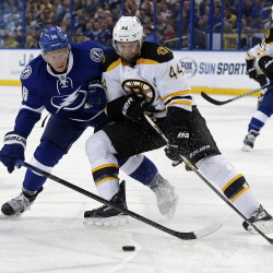 Tampa Bay Lightning's Ondrej Palat battles for the puck with Boston Bruins' Dennis Seidenberg during the second period Sunday in Tampa, Fla. The Associated Press