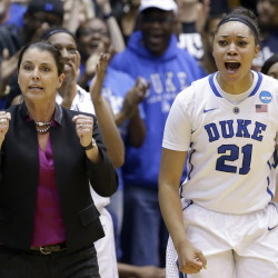 Duke Coach Joanne P. McCallie and Kendall Cooper celebrate Sunday near the end of the Blue Devils' 64-56 victory over Mississippi State in Durham, N.C.