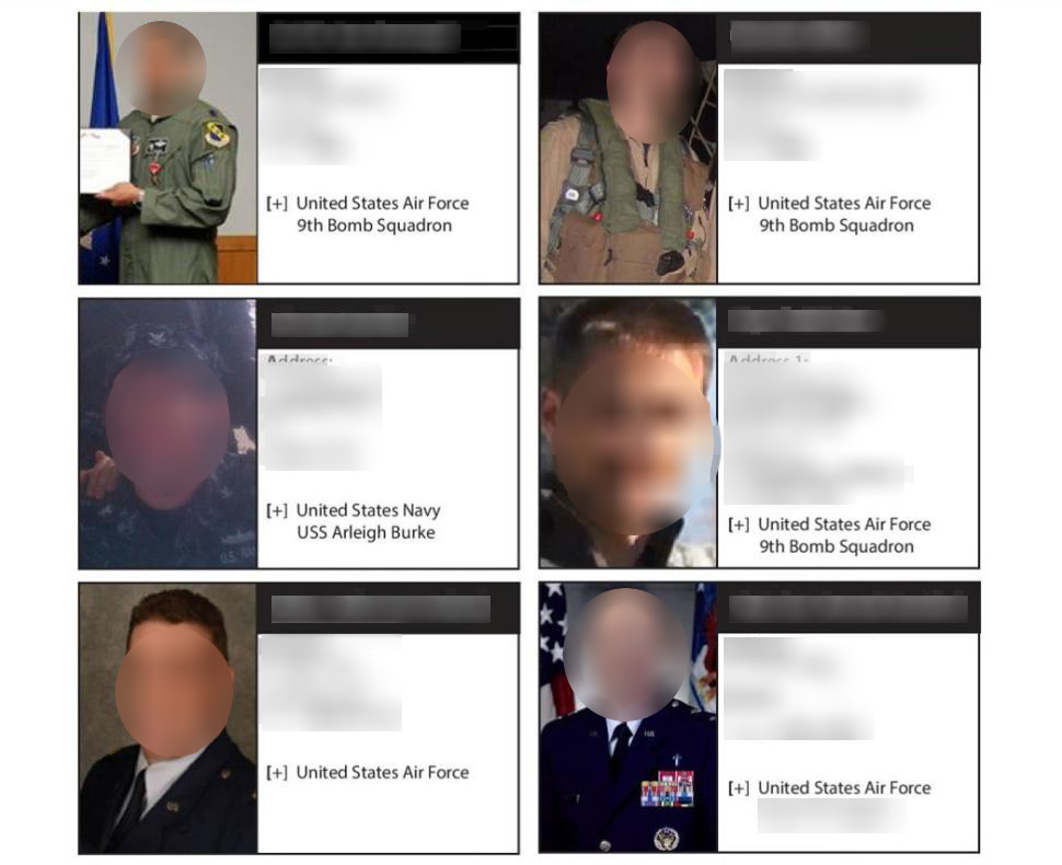 """A blurred screenshot shows some of the military service members targeted by the """"Islamic State Hacking Division."""""""