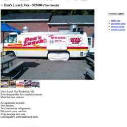Don's Lunch Van was advertised on Craigslist for $25,000.