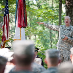 Adjutant General James D. Campbell for the Maine National Guard offers remarks during a 150th Anniversary Little Round Top Ceremony on July 17, 2013.  During the Battle of Gettysburg, the 20th Maine played a decisive role in staving off the advances of the Confederate army, possibly securing a Union victory at Gettysburg and changing the course of the Civil War.   John Boal photo/for the Press-Herald