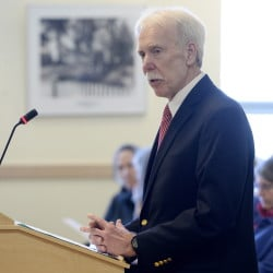 Olson speaks during a public hearing at the State House on March 19. In his role as a lobbyist, he sifts through hundreds, even thousands of bills proposed in a legislative session for ones that may affect Maine farms, agriculture or rural life.