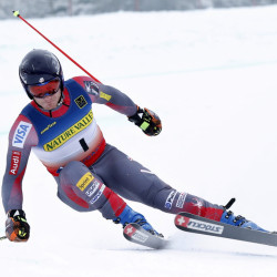 Tim Jitloff of Reno, Nev., skis to victory in the men's giant slalom ski race at the U.S. Alpine Championships on Friday at Sugarloaf Mountain Resort in Carrabassett Valley.