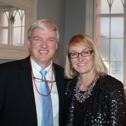 Children's author and illustrator Chris Van Dusen and his wife, Lori, of Camden at the Glitterati VIP authors reception.