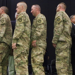 Maine's 133rd Engineer Battalion, shown being honored during a ceremony last August in Lewiston, has distinguished itself at home and abroad, and should not be moved to another state.