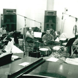 Members of the Wrecking Crew in a recording session.