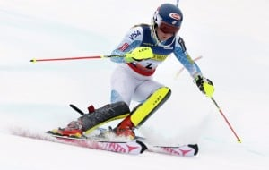 Mikaela Shiffrin carves a turn during her first run of the women's slalom skiing race at the U.S. Alpine Ski Championship in Carrabassett Valley on Saturday. Shiffrin won the event.