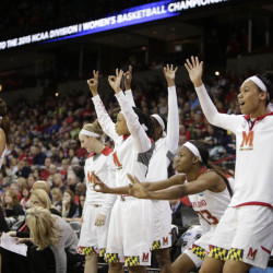 The Maryland bench reacts to a play during the second half of a regional semifinal game against Duke in the NCAA tournament Saturday in Spokane, Wash. Maryland won 65-55.