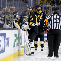 Boston Bruins goalie Tuukka Rask leaves the game 10 seconds into the second period Saturday in Boston. Rask did not return.