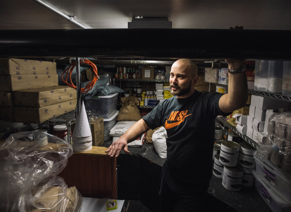 Noah Leether, head chef at Nosh in Portland, says more than 300 pounds of beef brisket – cured using pink salt – has been locked away in a freezer after health officials ordered an embargo in mid-February. Leether says the Congress Street restaurant could lose close to $4,000 as a result.