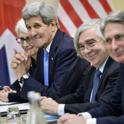 From left, U.S. Under Secretary for Political Affairs Wendy Sherman, U.S. Secretary of State John Kerry, U.S. Secretary of Energy Ernest Moniz and British Foreign Secretary Philip Hammond wait to continue nuclear talks with Iran in Lausanne, Switzerland, on Sunday.