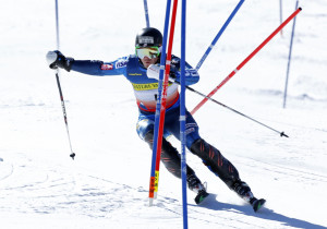 David Chodousky, of Crested Butte, Colo., skis through the gates on his way to winning the men's slalom ski race at the U.S. Alpine Championships Sunday at Sugarloaf Mountain Resort in Carrabassett Valley.