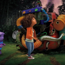 """Oh, left, voiced by Jim Parsons, and Tip, voiced by Rihanna, in a scene from the animated DreamWorks movie """"Home."""""""