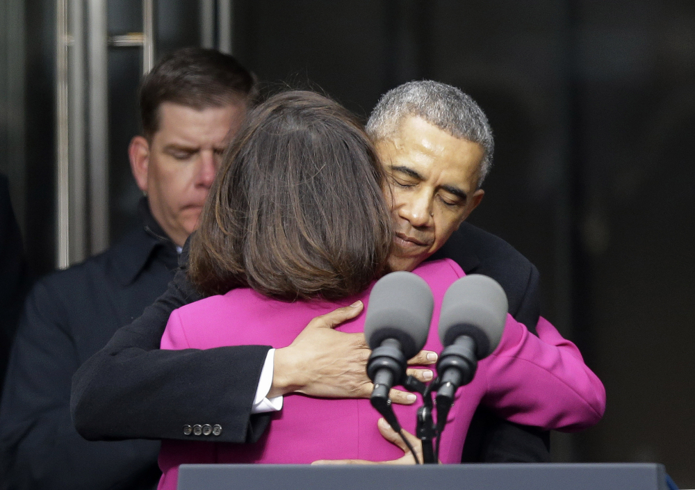 President Barack Obama  hugs Victoria Reggie Kennedy, former Sen. Ted Kennedy's widow, during the dedication of the Edward M. Kennedy Institute for the United States Senate on Monday in Boston.