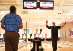 Terry Robinson of Gray celebrates after beating PBA Hall of Famer Walter Ray Williams Jr. Monday morning at Bayside Bowling in the PBA Xtra Frame Maine Shootout. Robinson lost his Round of 32 match later to a Canadian bowler.