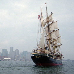 Casco Bay High School students Julien Peck and Naomi Radtke Rowe will spend time aboard the Picton Castle, a square-rigger built in 1918. The tall ship will be one of eight participating in a three-day festival in Portland on July 18-20.