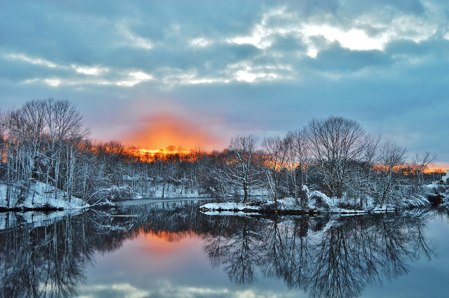 Clarks Pond in South Portland turns into a reflecting pool during a recent sunset when North Yarmouth's Brian K. Lovering was there to enjoy the frosty splendor and share this beautiful image.