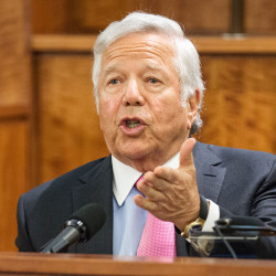 "New England Patriots owner Robert Kraft testifies during the murder trial of former Patriots football player Aaron Hernandez Tuesday at Bristol County Superior Court in Fall River, Mass. Kraft said Hernandez ""hugged and kissed me and thanked me for my concern."" The Associated Press"