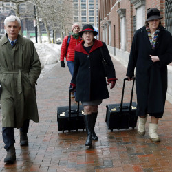 Members of Dzhokhar Tsarnaev's legal defense team – David Bruck, Miriam Conrad, center, and Judy Clarke – arrive at federal court, Wednesday in Boston on the first day of Tsarnaev's federal death penalty trial. The Associated Press