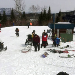 First aid is administered to injured skiers at Sugarloaf Mountain Resort after a chairlift malfunctioned last March. The Associated Press/Greg Hoffmeister