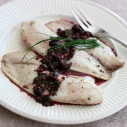 Tilapia with horseradish and beet green chimichurri