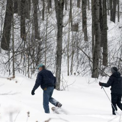 Dev Kernan and his wife Karen Butler snowshoe on family property along the proposed path of the Constitution Pipeline in Harpersfield, N.Y. The 124-mile Constitution Pipeline will slash a mile-long gash through a pristine forest tended by the Kernan family for seven decades. The Associated Press