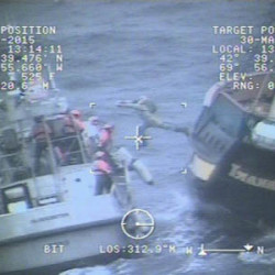 Coast Guard lifeboat crews directed the crew of Liana's Ransom to don immersion suits and prepare to abandon ship. Nine crewmembers were rescued from the Canadian tall ship 58 miles east of Gloucester, on Monday after the vessel's engines stopped and its sails became wrapped around the mast.