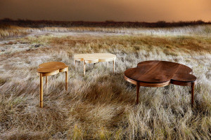Maine-based furniture designer Matt Hutton's series of tables is an example of the circles, curves and arcs that were strong design trends at this year's Architectural Digest Home Design Show.
