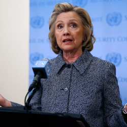 """MARCH 10: Former U.S. Secretary of State Hillary Clinton speaks during a news conference at the United Nations headquarters in New York on Tuesday to address criticism that used only a private email server for work-related correspondence as secretary of state. She said it """"might have been smarter"""" to use a separate government account to conduct her State Department business. She said she sent more than 60,000 emails from her private account in a four-year span but none contained classified material."""