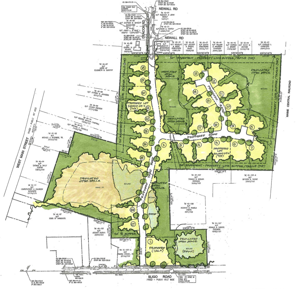 The concept plan submitted by Sligo Road Associates LLC for the 36-acre site would preserve the eight-acre sand pit as open space. Courtesy of Matt Teare