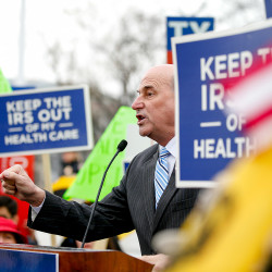 Rep. Louie Gohmert, R-Texas, speaks at a rally outside the Supreme Court in Washington on Wednesday.