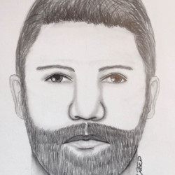 The Cumberland County Sheriff's Office is distributing this sketch of the person responsible for a home invasion Sunday in Casco. The man was described as between 6-foot-2 and 6-foot-4, and wearing a black trench coat.