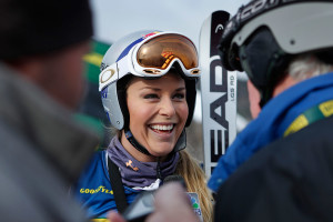 Vonn speaks to reporters after running the women's giant slalom ski race course as a forerunner at the U.S. Alpine Championships. Vonn did not compete in the race.