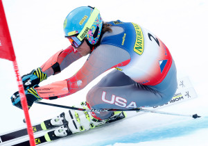 Tommy Ford of Bend, Ore., passes a gate on his way to a second-place finish in the men's giant slalom ski race at the U.S. Alpine Championships on Friday at Sugarloaf Mountain Resort in Carrabassett Valley.