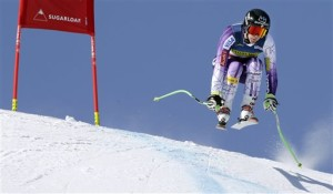 Stacey Cook, of Truckee, Calif., on her run during the women's super-G race at Sugarloaf Wednesday. Cook finished eighth.