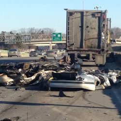 Debris in the righthand lanes of I-295 northbound snarled the morning commute on Friday.